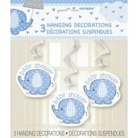 "Hanging Swirl Decorations 26""L. - Umbrellaphants Blue - Baby Shower 3CT."