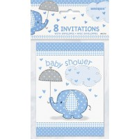 Invitations - Umbrellaphants Blue - Baby Shower 8CT.