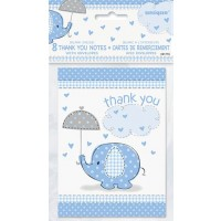 Thank You Notes - Umbrellaphants Blue - Baby Shower 8CT.