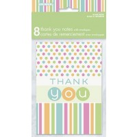 Thank You Notes - Pastel - Baby Shower 8CT.