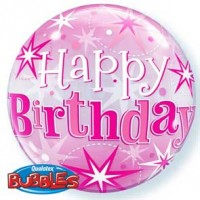 "Birthday Pink Starburst Sparkle 22"" Single Bubble"