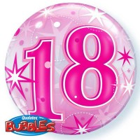 "18 Pink Starburst Sparkle 22"" Single Bubble"