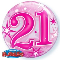"21 Pink Starburst Sparkle 22"" Single Bubble"