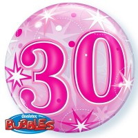 "30 Pink Starburst Sparkle 22"" Single Bubble"