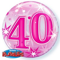 "40 Pink Starburst Sparkle 22"" Single Bubble"