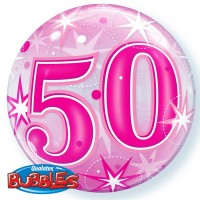 "50 Pink Starburst Sparkle 22"" Single Bubble"