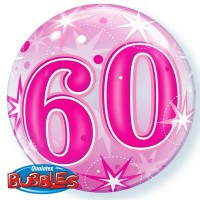"60 Pink Starburst Sparkle 22"" Single Bubble"