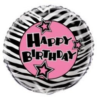 Zebra Passion 18'' Foil Balloon - Happy Birthday