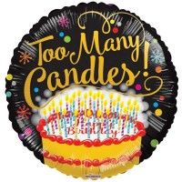 "Too Many Candles 18"" Foil Balloon"