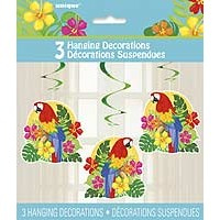 "Hanging Swirl Decorations 26""L - Tropical Island Luau - 3ct. 12pk."