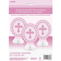 Pink Radiant Cross Mini Honeycomb Centrepieces 3ct