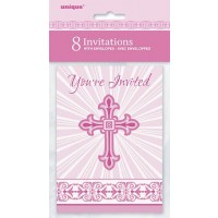 Pink Radiant Cross Invitations 8ct