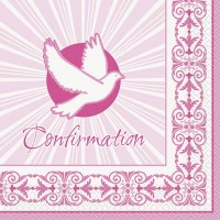 Confirmation Pink Radiant Cross Luncheon Napkins 16ct