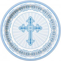 "Blue Radiant Cross 9"" Plates 8ct"