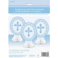 Blue Radiant Cross 3 Mini Honeycomb Centrepieces
