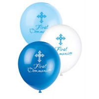 "12"" Latex Balloon Communion Blue 8CT. - Radiant Cross"