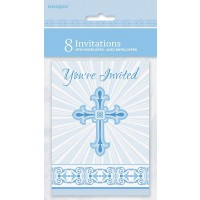 Blue Radiant Cross Invitations 8ct