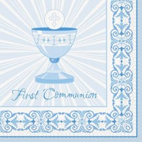 Communion Blue Radiant Cross Luncheon Napkins 16ct