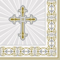Silver and Gold Radiant Cross Luncheon Napkins 16ct