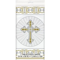 Silver and Gold Radiant Cross Plastic Tablecover 1ct