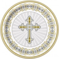 "Silver and Gold Radiant Cross 7"" Plates 8ct"