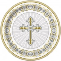 "Silver and Gold Radiant Cross 9"" Plates 8ct"