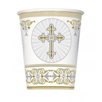 Silver and Gold Radiant Cross 9oz Cups 8ct