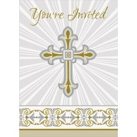 Silver and Gold Radiant Cross Invitations 8ct