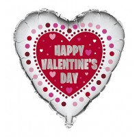 "Silver Heart Shaped Happy Valentines Day 18"" Foil Balloon"
