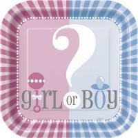 Gender Reveal 9'' Square Plates