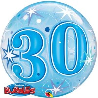 "30 Blue Starburst Sparkle 22"" Single Bubble"