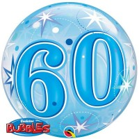 "60 Blue Starburst Sparkle 22"" Single Bubble"