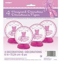 "Mini Honeycomb Decorations 6""H - Pink Ballerina - 4ct."