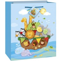 "Medium Gift Bag 9""H X 7""W - Noah's Ark - Baby Shower 1 Ct. 12 Pk"