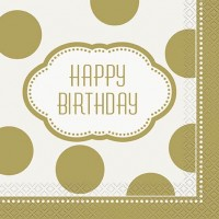 Luncheon Napkins - Golden Birthday - 16 CT.