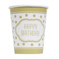 9 OZ. Cups - Golden Birthday - 8 CT.