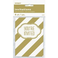 Invitations - Golden Birthday - 8 CT. 12 PK.