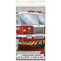 "Plastic Tablecover 54"" x 84"" - Fire Truck"