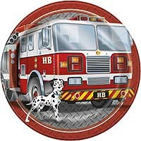 "9"" Plates - Fire Truck - 8ct."