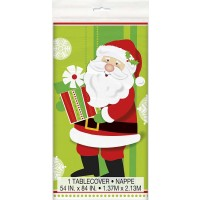 "Plastic Tablecover 54"" X 84"" - Happy Santa 12 Pk"