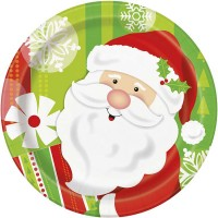 "7"" Plates - Happy Santa 8CT."