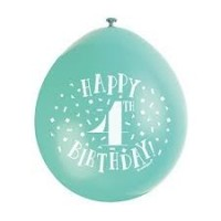 "Happy 4th Birthday 9"" Latex Air Fill Balloon - Assorted Colours, Printed 1 Side - 10ct."