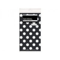 "Midnight Black. Dots Plastic Tablecover 54"" x 108"""