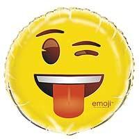 """18"""" Foil Balloon - emoji Wink - Packaged"""