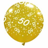 "50th Anniversary 32"" Gold Metallic Latex Balloon 1ct"