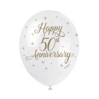 "Happy 50th Anniversary- 5CT 12"" Helium Fill Latex Balloon- Pearlized  Printed All Around - 5ct"