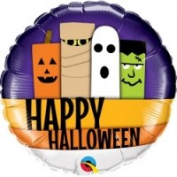 "Happy Halloween Ghost Frankenstein Mummy And Pumpkin 18"" Foil Balloon"