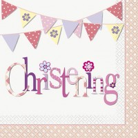 Christening Pink Luncheon Napkins 16CT.