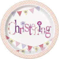 "Christening Pink 9"" Plates 8CT."