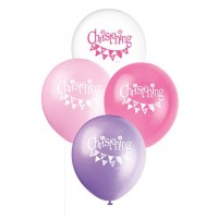 "12"" Christening Pink Balloons 8CT."